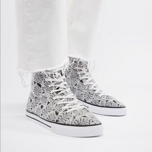 ASOS DESIGN high top plimsolls in jacquard